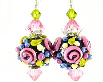 Flower Lampwork Earrings, Glass Bead Earrings, Pink Dangle Earrings, Lampwork Jewelry, Fun Beaded Earrings, Beadwork Earrings