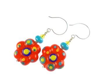 Red Glass Bead Earrings, Lampwork Jewelry, Statement Lampwork Earrings, Unique Drop Earrings, Flower Dangle Earrings, Glass Bead Jewelry