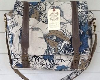 custom Convertible backpack messenger travel bag- blue floral rucksack with adjustable leather straps
