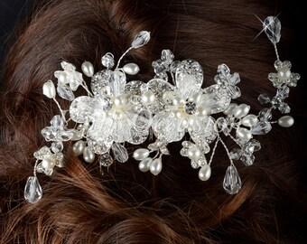 Charm Rhinestone Pearl Floral Crystal Bridal Hair Comb - Style 4