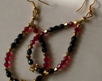 Fashion Couture Swarovski Crystal Dangle Earrings RubyRed Gold & Midnight Black  LJO Collection  We Ship Internationally