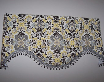Folk Damask Custom Valance with Onion Ball Fringe