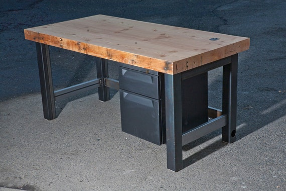 Bon Items Similar To Reclaimed Wood Slab Desk With Metal Legs On Etsy