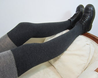 Plus Size XL Wool Boot Socks Leg Warmers Thigh High Socks Gray Over the Knee Socks Charcoal Grey Merino Wool A924-P
