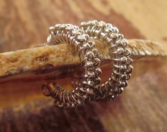 Silver Hoops Beaded Hoop Earrings Beaded Earrings Beaded Hoops Hill Tribe Silver Beaded Earrings Womens Gifts Women Holiday Gift Girlfriend
