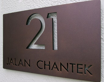 CUSTOM Modern Deluxe Floating Address Sign in Powder Coated Aluminum