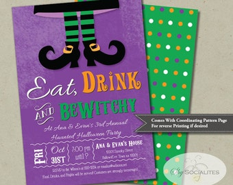 Witches Feet Halloween Invitation | Purple, Green, Orange, Eat, Drink, And BeWitchy, Bewitched, Costume Party | INSTANT DOWNLOAD Template