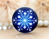 12mm 20mm 25mm 30mm  Handmade Photo Glass Cabochon -Image Glass Cabochon-(Christmas snowflake)-(HPGC-2291)