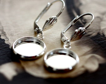10Pcs 12mm 16mm Silver plated  brass Earring ear hook  Hoop with 12mm Round Pad NICKEL FREE (EAR-85)