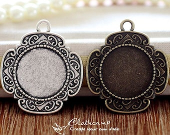 8Pcs 20mm  Antique Bronze/Antique Silver/ Cabochon Setting Cameo Base frame Base for making necklaces and pendants(SETHY-220)