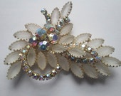 Juliana D & E  Delizza Eister Frosted Navettes AB Rhinestone Crystals Large Brooch Pin Mid Century Vintage Jewelry