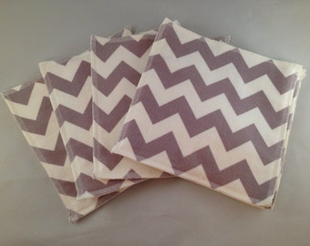 Flannel/Terry Cloth Napkins - Medium Grey Chevron