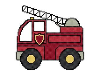 Fire Truck Cross Stitch Pattern - Digital File - Instant Download, X Stitch Pattern, Easy Cross Stitch Pattern