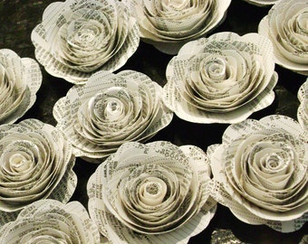 2 inch book page spiral recycled paper flowers rolled roses rosettes stats atlas index page
