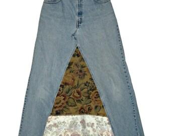 Upcycled Jeans Skirt Denim Maxi Levi's Skirt Size 11 Junior