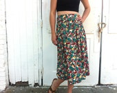 long floral skirt / 90s maxi skirt / green yellow red button-down knee length / vintage Jaeger women medium large