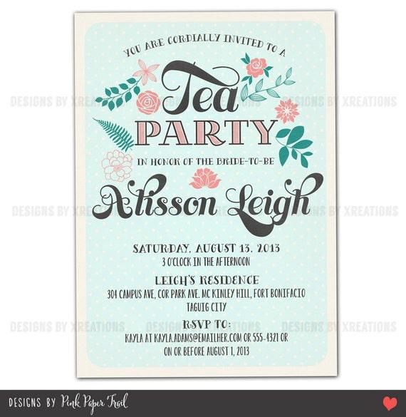 Rustic vintage shabby chic tea party invitation customizable