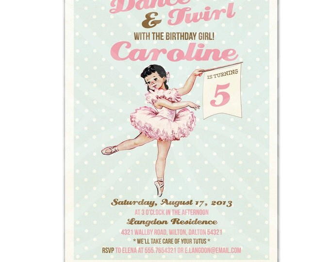 Printable Ballerina Invitation DIY, Customizable Wordings, Ballerina Party Invitation