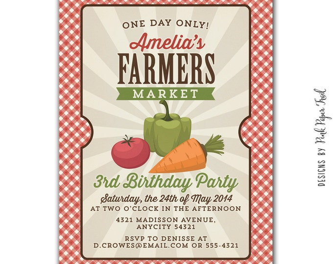 Barnyard, Farm Party, Farmers Market, Country Fair Invitation, I will customize for you, Printable Invitation