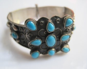 Egyptian Bracelet - Turquoise and Silver Bangle - Vintage Ethnic Jewelry - Egyptian Jewelry