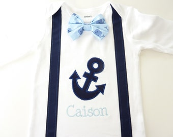 Personalized Anchor Suspender Bodysuit with Matching Removable Bow Tie