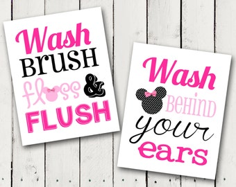 Pink Minnie Mouse Bathroom Rules Subway Art - Instant Download