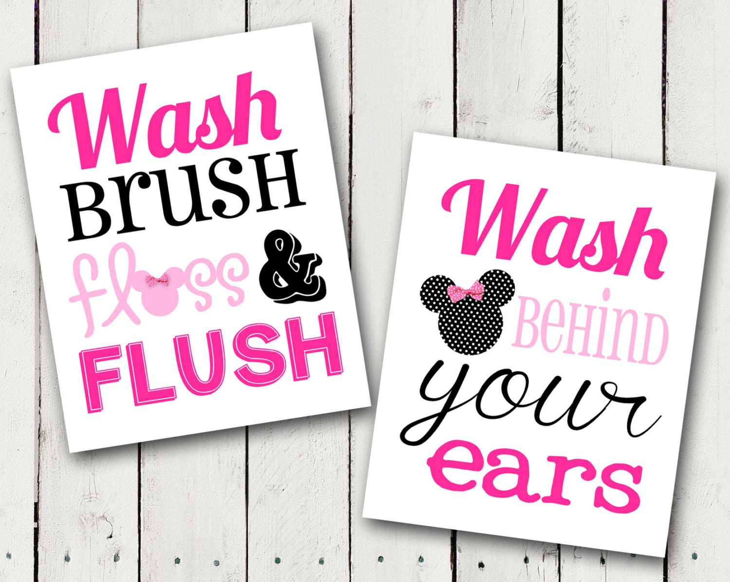 Pink Minnie Mouse Bathroom Rules Subway Art Instant Download