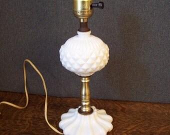 Vintage Mid Century Milk Glass Englsih Hobnail Lamp