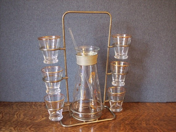 Mid Century Cocktail Bar Set Pitcher Glasses with Caddy