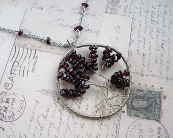 Garnet and Silver Tree of Life Necklace Free Shipping