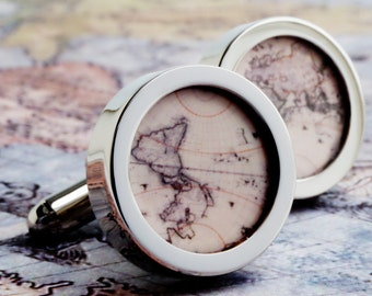 Vintage Map Cufflinks an Old World Vintage Map of the World PC581