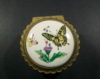 Vintage Japan Sanyo Porcelain & Metal Musical Jewelry Box