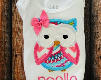 Owl Shirt or Body Suit with Name Personalized