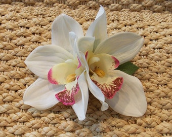 White Hawaiian Bridal Double Tropical Tiki Orchid Flower Hair Clip, Island Bride Rockabilly Pinup Hair Accessories
