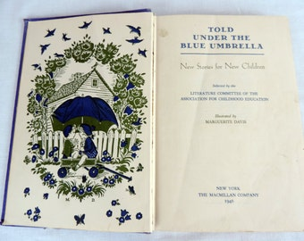 Vintage Children's Book Told Under The Blue Umbrella 1946