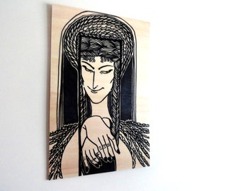 Original Byzantine art Icon Medea Black Marker Figure Drawing Illustration on Wood, Wall art, Wall Decor - panel 9.5x14.5inch (24x37cm)