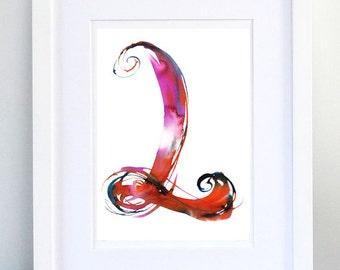 Print, Art Print, Wall Decor, Wall Art, Illustration Print, red Ink Drawing, Letter L, print 8x11.5 inch (21x29.5 cm)