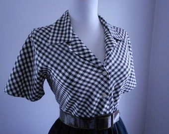 Vintage Cotton Black & White Gingham Picnic Plaid 1950s 1960s Button Down Blouse