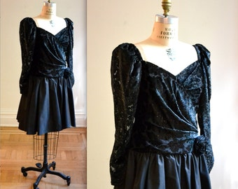 80s Vintage Black Party Dress Size Medium By Cattiva by Maya Jornot// 80s Vintage Prom Dress In Black Velvet size Medium