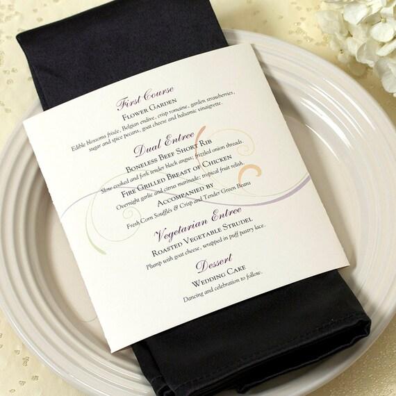 Scroll Dinner Menu, Wedding Menu, Elegant Wedding Menu, DEPOSIT
