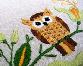 Vintage Woodland Owl on Branch Embroidery
