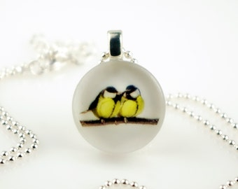 Two Yellow CHICKADEE - Cute Animal Series - Recycled Glass Photo Nature Pendant Necklace