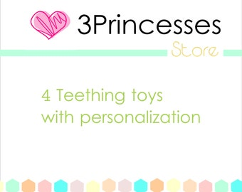 Baby teething toy personalized 4 teethe toys combo pack