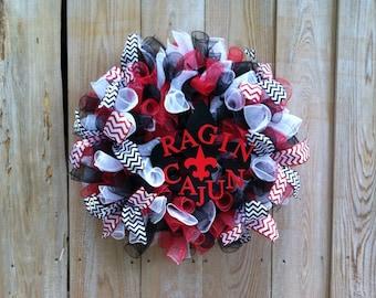 ULL Wreath, Wreath, Ragin Cajun Wreath, ULL Decor, Ragin Cajun Decor