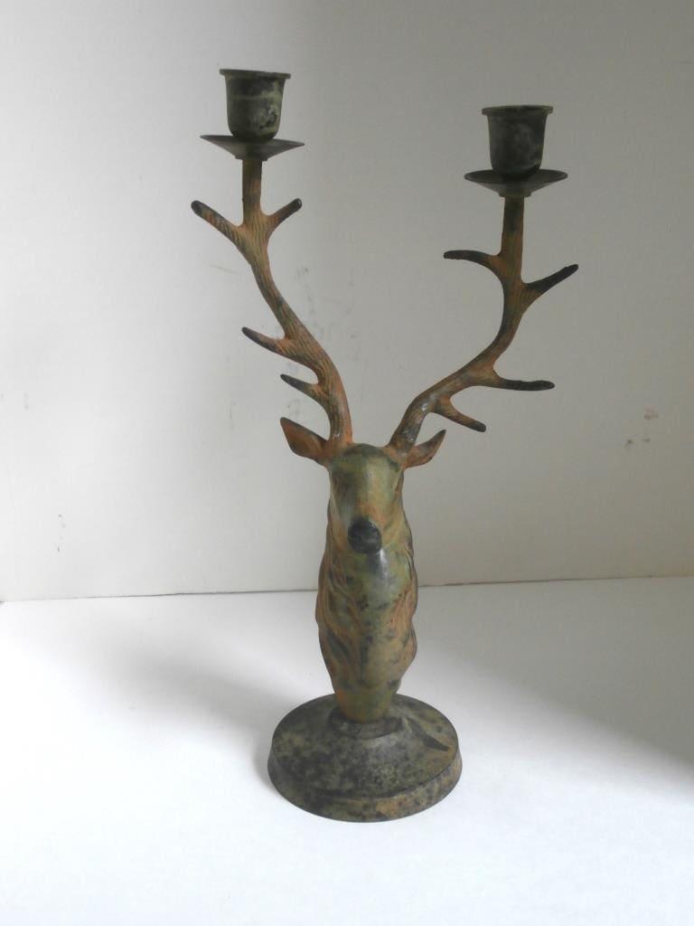Vtg Stag Deer Bronze Candle Holder