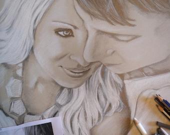 "Graphite, Charcoal and Chalk Portrait Commission 16"" x 20"" on fine art paper."