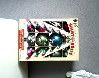 Christmas Tree Ornaments, Vintage 1950s Shiny Brite Glass Decorations Made in the USA