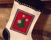 Black/White Christmas Tree Stocking - Finished and ready to ship !