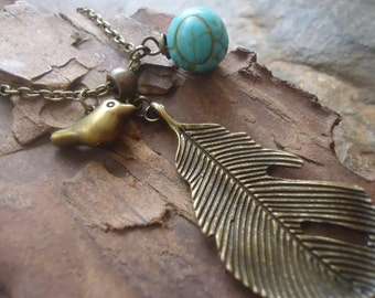 LEAF, BIRD & carved HOWLITE long necklace - chain 354