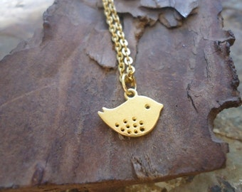 GOLD PIEPS necklace with bird (457)